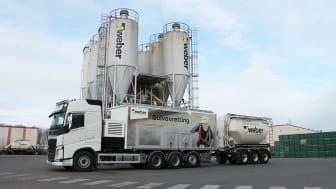 Webers pumpebil i Bergen har en kapasitet på 20 tonn i timen. Nå suppleres den med nok en pumpebil som skal levere på fast basis i bergensområdet.