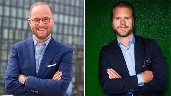 Offertas vd Jens Nilsson (t.v) och SolidSports vd Tobias Thalbäck är mycket nöjda med det inledda samarbetet.