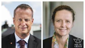 Energi- och digitaliseringsminister Anders Ygeman (foto: Kristian Pohl) och Anna Eriksson, generaldirektör för DIGG – Myndigheten för digital förvaltning om resultatet efter Hack the Crisis, vårens nationella hackaton i kampen mot Corona.