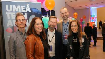 Johan Granström, ABB, Stina Lantz, Ignite Sweden, Niklas Åström, Ålö, Martin Olausson, Synerleap är nöjda efter en eftermiddag med 80 korta möten med heta startups. Här också Maria Olofsson, Uminova Innovation.
