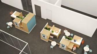 HSB Living Lab Tvättstudio skissbild ovan 27 maj 2015