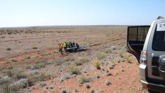 Solbilen på trailer efter olycka