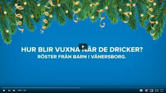 Bilden visar första bilden på julfilmen Vänersborgs kommun tagit fram om hur barn ser på vuxna när de dricker.