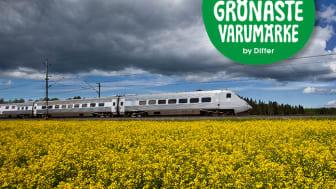 X 2000 är Sveriges snabbaste och mest energieffektiva snabbtåg - det ger lägst klimatavtryck per resenär.