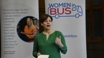Katy Taylor, Go-Ahead's commercial and customer director, speaking at the 'Women in Bus' event in Newcastle