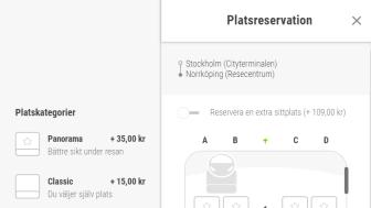 Exempel på bokning av platsreservation på www.flixbus.se