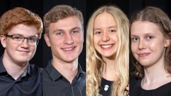 Finalister 2021: Vilhelm Moqvist, Harald Edin, Nicole Biegniewska, Jael Caselunghe.