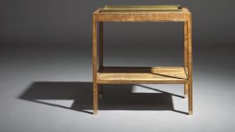 Kaare Klint: An unusual unique oak burl tray table with underlying shelf.
