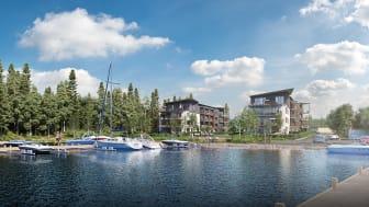 3D-bild på de planerade bostadsrätterna.