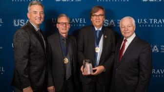 På bilden syns från vänster: Chris Thompson (President and CEO of Brand USA), Magnus Hermansson (Director of Production, Swanson's Travel), Tommy Swanson (ägare/VD Swanson's Travel), Roger Dow (President and CEO of the US Travel Association).