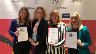 Fra venstre: Kristine Lyck Dreehsen (Digital Forretningsudvikler, Aller Mad), Maibritt Holm (Head of Native Advertising, Aller Mediesalg), Dorthe Kandi (Redaktionschef, femina), Rikke Keinicke Aaskov Hansen (Native Project Manager, Aller Mediesalg)