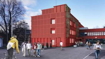 Sofienberg skole får ny fasade med solenergiproduksjon og lavt energiforbruk, samtidig som materialer skal ombrukes. Ill: Ola Roald AS