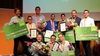 Kvällens fyra vinnande team i Venture Cup Öst - Grönska, CAD Detector, Qlutter och Magic Brush. Fotograf: Victor Ackerheim