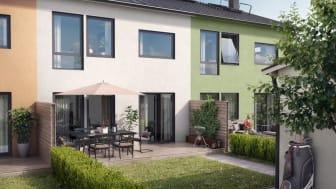 Brf Solängen är tio radhus med putsad fasad i varma, harmoniska färger.