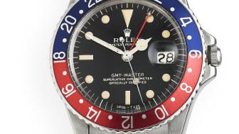 "Rolex wristwatch made of steel. Model Master GMT ""Gilt"" (1966) Estimate: DKK 100,000-150,000."