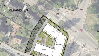 Norrstrand - skiss över placering av hus