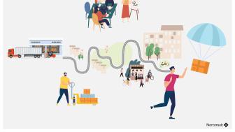 """Med konseptet """"Trondheim Logistikk Lab"""" skal Norconsult gjennomføre et forprosjekt for nye konsepter for bylogistikken i Trondheim. (Illustrasjon: Norconsult)"""