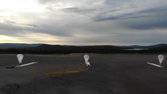 Tidigt under torsdag morgon skickades tre ballonger upp med IRF:s infraljudssensorer från Esrange utanför Kiruna. Foto: SSC