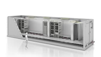 Klar att använda - det nyckelfärdiga datacentret innehåller alla vitala komponenter - allt från IT-rack till klimat-kontrollteknik och strömförsörjning. Containern själv - skyddshöljet - tillåter utomhusinstallation med IP 56-skydd.