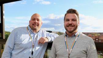 Vd Jody Lodge och facility manager Christoffer Schönbeck, från McNeil/Johnson & Johnson.