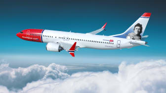 Renderizado del Boeing 737 MAX 8 dedicado a Rodríguez de la Fuente (Norwegian).