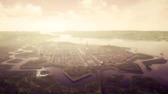 En stillbild ur filmen om 1600-talets Göteborg. Visualisering: Göteborgs Stad