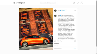 A screenshot of the Instagram post by Ai Weiwei about his lawsuit against Volkswagen