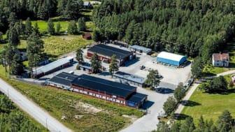 Flygfoto av Byggvaruhuset Forslunds i Nordmaling som nu förvärvas av Bygma. Foto: Forslunds