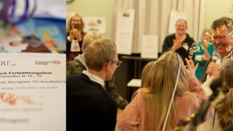 Barn och ungdomar överlämnar Opratat till Lennart Magnusson, verksamhetschef vid Nka