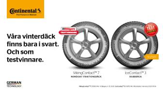 Våra vinterdäck finns bara i svart. Och som testvinnare. Foto: Continental Däck Sverige AB.