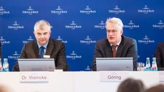 Markus Warncke (CFO) et Frank Göring (CEO) présentent les résultats de l'exercice 2018 de Villeroy & Boch AG.