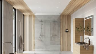 Ylellinen kylpyhuone niemen kärjessä on Rikardin ja Ulrikan paratiisi
