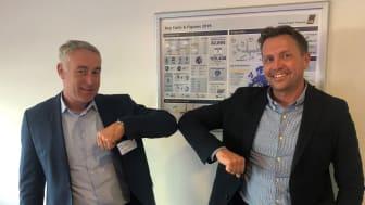 Fra venstre: Mads Jakobsen, Vice President, NNIT Enterprise Delivery og  Jonas Dan Jørgensen, Head of IT Services hos CPH