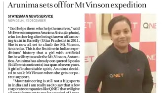 Arunima Sets off for Mt.Vinson expedition