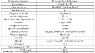 Samyang AF 35mm F1.8 FE Product Information 01 - Technische Daten