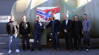 Fra venstre: Andreas Mellquist, Morten Nygaard Hedlund, Shu Wen, Kenneth Haugseth, Petter Mellquist, Alexander Nilsen og Eskil Møllegaard. Foto: Biovac Environmental Technology AS