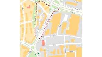 Karta över omledningsväg för gång- och cykeltrafik, se röd markering, samt var de tillfälliga busshållplatserna finns, se grön markering.