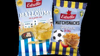 Estrellas två första sommarsnacks 2021: Halloumi med lite chili och Matchsnacks Sourcream & Onion