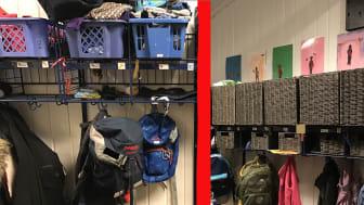 FØR OG ETTER: Slik så det ut før de ansatte i Tokerudtoppen barnehage organiserte garderoben, og slik ser det ut nå etter prosessen.