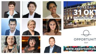 Den 31 oktober arrangeras Opportunity Day på Clarion Hotel Post där 600 utrikes födda jobbsökande, 25 rekryterande företag, seminariebesökare och näringslivets hållbarhetselit diskuterar affärsnyttan med mångfald.