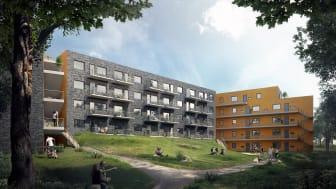 Visualisering av Norra Säteriet. Illustration: Liljewall arkitekter