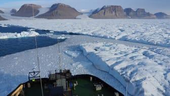 Den svenska isbrytaren Oden framför Petermannglaciärens istunga under en expedition 2019. Den nya studien visar att istungan kan brytas upp om uppvärmningen av havet fortsätter. Foto: Martin Jakobsson.