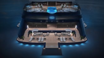 Ritz-Carlton Yacht Collection - Evrima aft night view