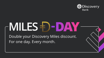 For one day every month, qualifying Discovery Bank clients with Vitality Money can get up to 40% off when spending their Discovery Miles in-store or online at over 40 Discovery Miles partners.