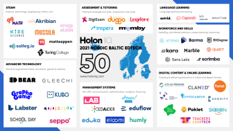 Av över 1500 utvärderade organisationer hamnar svenska Skolon på HolonIQ:s lista över de 50 mest innovativa edtech-företagen i Norden och Baltikum, där Finland, Sverige, Norge, Island, Danmark, Estland, Lettland och Litauen ingår.