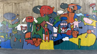 Urban konst av elever vid Ljungenskolan på bästa läge i Furulund. Foto: Heidi Viman, Kävlinge kommun.