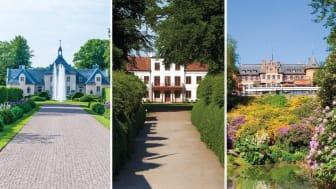Tre trädgårdar: Norrvikens trädgårdar, Fredriksdals museer och trädgårdar samt Sofiero slott och slottsträdgård. Fotograf fr vänster: Norrvikens privata, Ralf Ekvall och Anders Ebertfeldt.