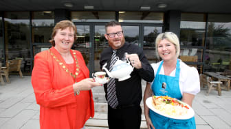 Mayor MEA Maureen Morrow, Gobbins Manager Alister Bell and new Cafe owner Anne English
