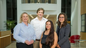 L-R Sue Shaw-Toomey from Toomey Legal, Matthew Rippon from Particular Legal, Amy Gatenby, Jennifer Wilkes