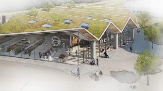 Lidls livsmedelsbutik i Sigtuna stadsängar, Illustration av LINK Arkitektur